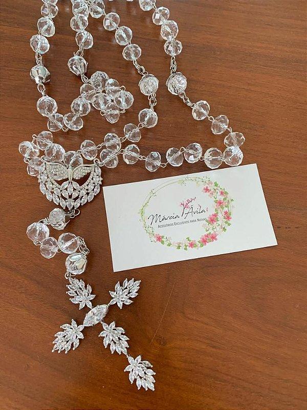 Terço para noiva semi joia em cristais