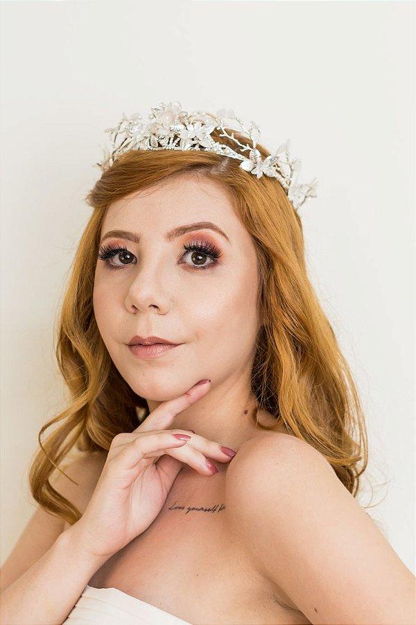 Tiara de noiva boho chique com pedrarias prata
