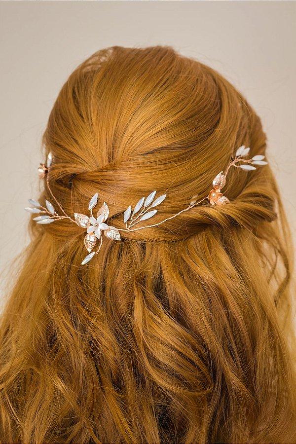 Arranjo para cabelo de noiva com pedrarias opal banho de ouro rosé