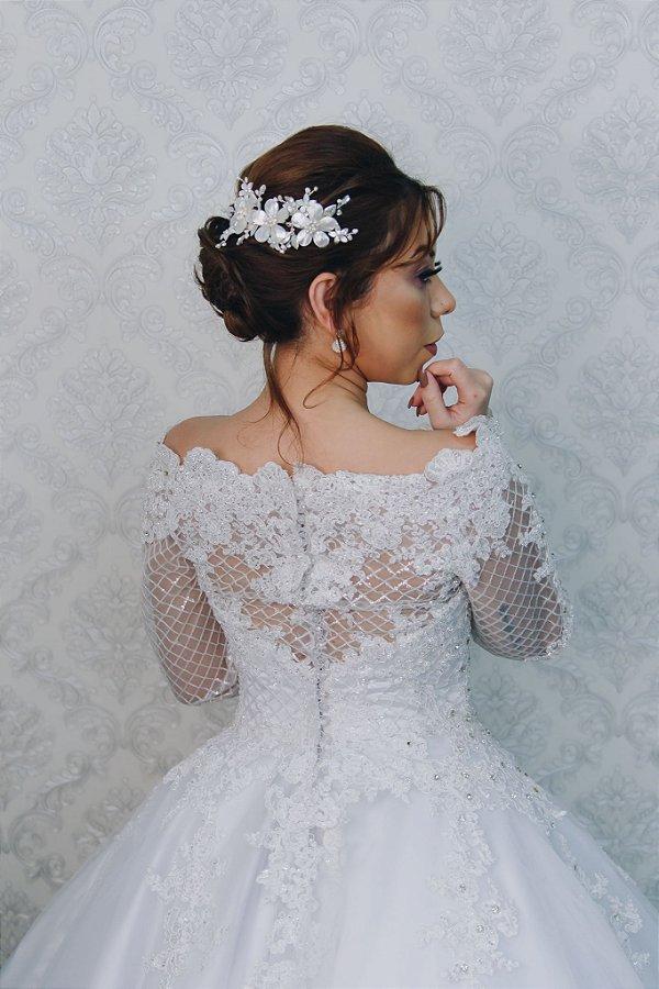 Enfeite arranjo para cabelo de noiva com madrepérolas banho prata
