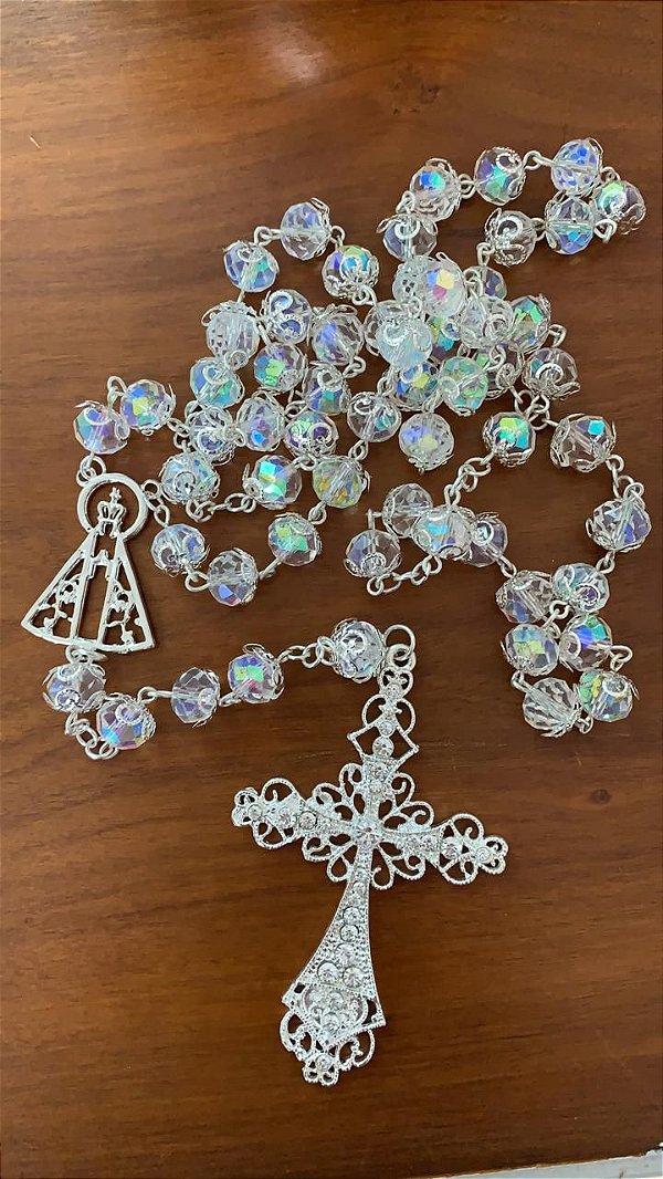 Terço em cristais para noiva aparecida vazada