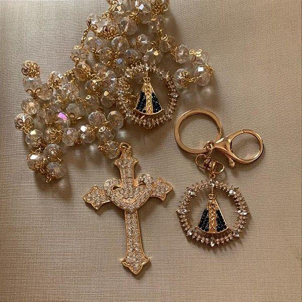Terço para casamento cristais Aparecida dourado