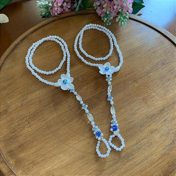 Sandália descalça noiva pérolas pedrarias azul serenity