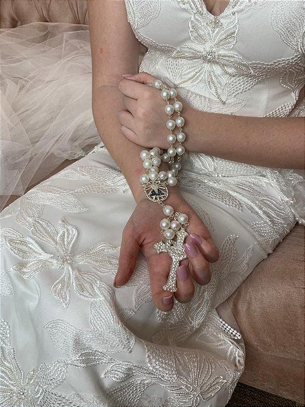 Terço Nossa Senhora Aparecida  pérolas 12mm brancas foscas