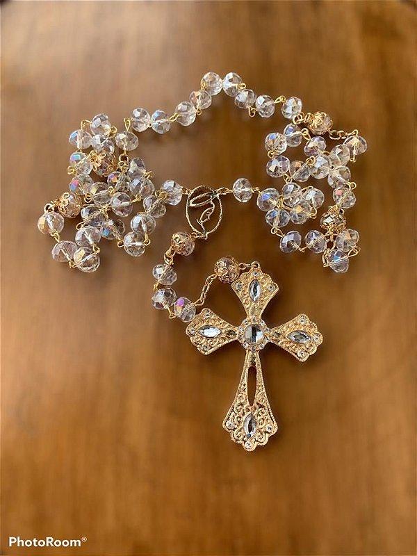 Terço para noiva  nossa senhora vazada  em cristais dourado