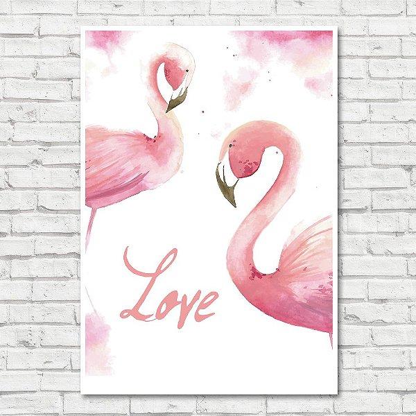 Quadro Flamingo Love