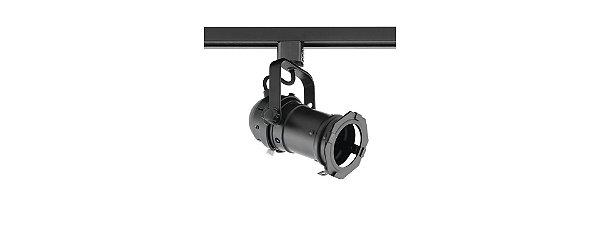 Spot Cênico PAR16 GU10 Preto com Adaptador para Trilho
