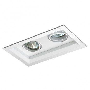 Luminária Retangular Embutir Recuada Foco Duplo Direcional 11,5x20cm