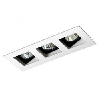Luminária Retangular 7x18cm Embutir Triplo Recuado Direcional