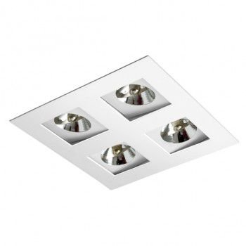 Luminária Quadrada 23,5x23,5cm Embutir Foco Quádruplo Recuado Direcional