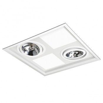 Luminária Quadrada Embutir Híbrida 34,5x34,5cm 4xUN-4p 2xAR111