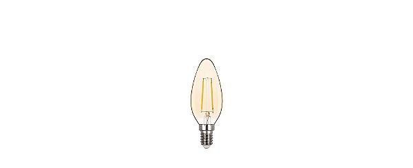 Lâmpada LED Vela Lisa Filamento 2W 200LM E14 Ambar