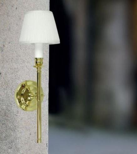 Arandela Dourada Cúpula Branca 46x15cm