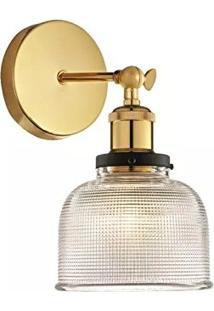 Arandela em Vidro Transparente e Soquete Dourado