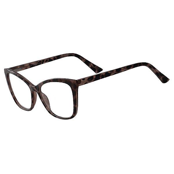 Armação Óculos Grau Feminino Oncinha Cinza KALLBLACK AF3019C5