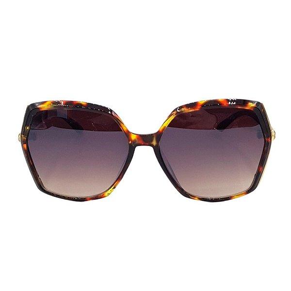 Óculos de Sol Feminino Marrom Degradê com Tartaruga-Dourado