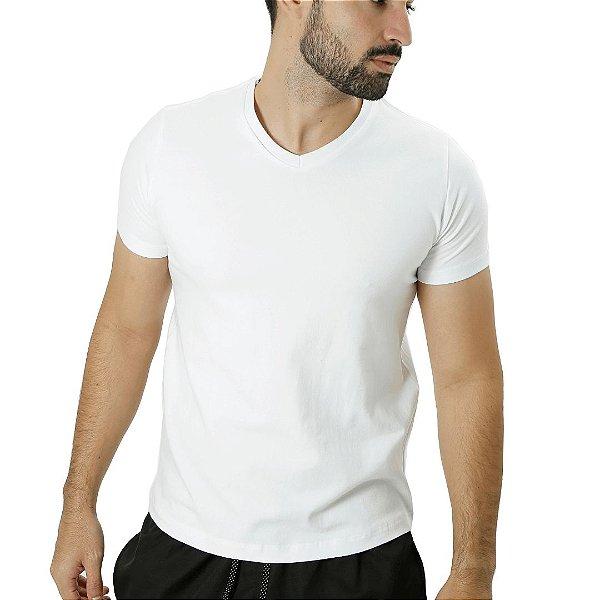 Camiseta Cotton Gola V Branca