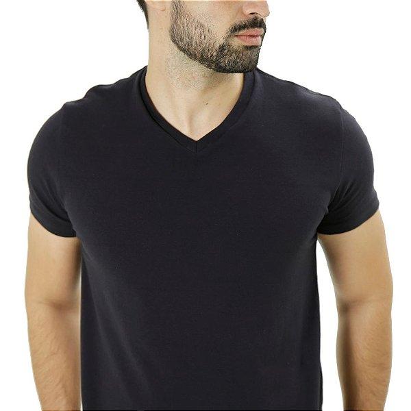 Camiseta Cotton Gola V Preta