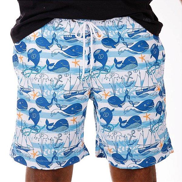 Short Masculino Estampado Baleia Azul