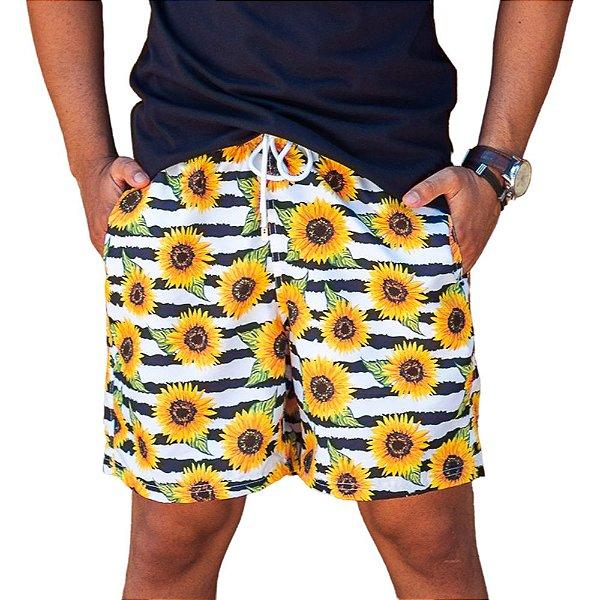 Short Masculino Estampado Girassol