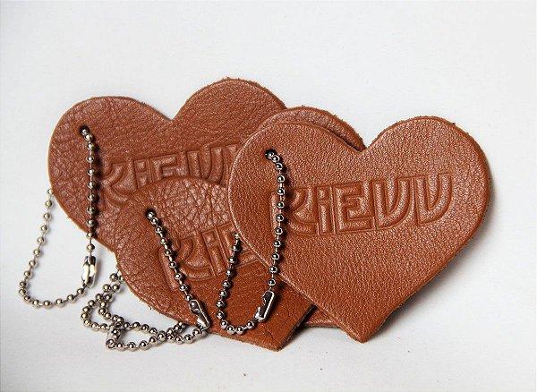 Chaveiro de Couro Personalizado com Logo - Coração