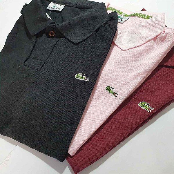 Kit 3 Camisas Polo Básica Masculina - Malha Piquet