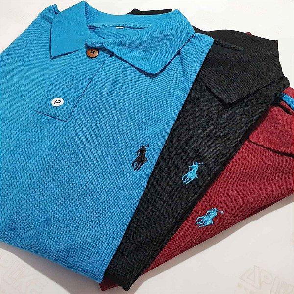 Kit 10 Camisas Polo Básica Masculina - Malha Piquet