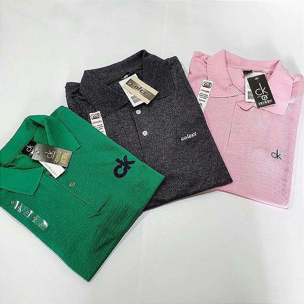 Kit 3 Camisas Polo Premium Masculina - Malha Piquet