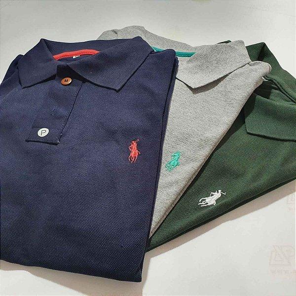 Kit 15 Camisas Polo Básica Masculina - Malha Piquet