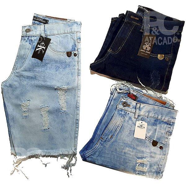 Kit 15 Bermudas Jeans Masculinas Atacado