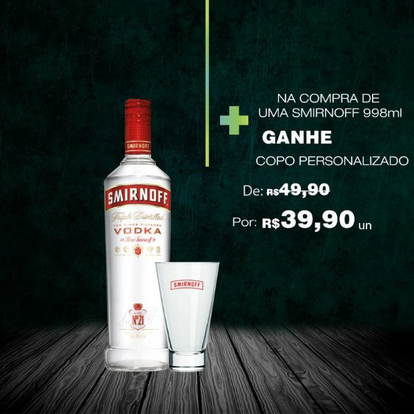 Vodka Smirnoff 998ml + COPO EXCLUSIVO 2