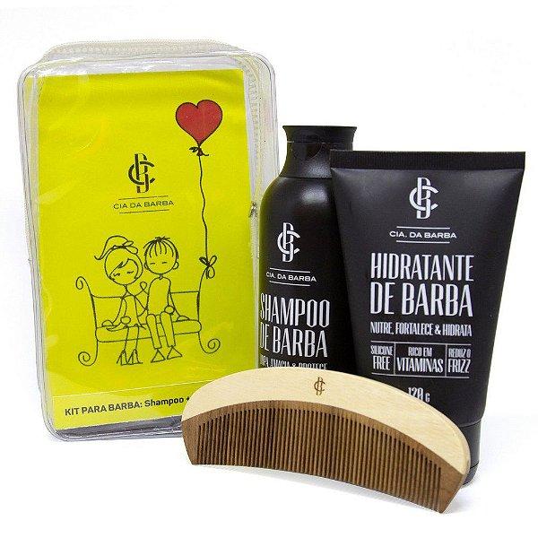Kit Presente Especial: Shampoo de Barba + Hidratante de Barba + Pente - Cia. da Barba