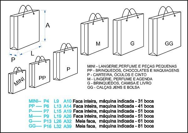 Facas de corte e vinco sacolas