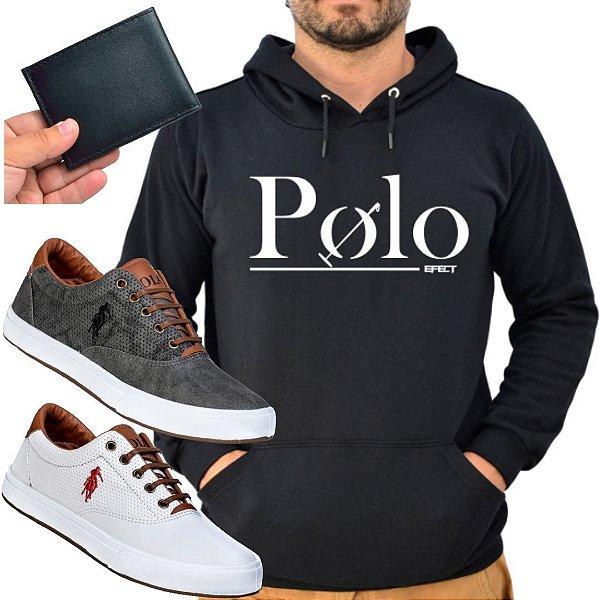 Kit 2 Tênis Polo Way Branco e Grafite com 1 Moletom Polo Efect e 1 Carteira