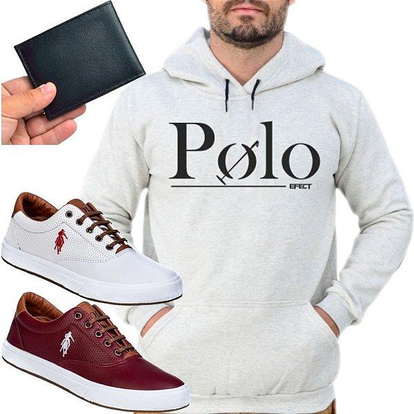 Kit 2 Tênis Polo Way Branco e Vinho com 1 Moletom Polo Efect Cinza e 1 Carteira