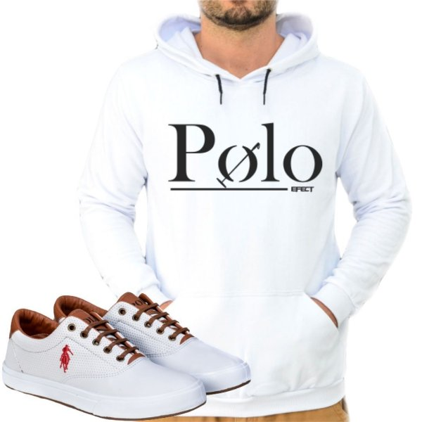 Kit 1 Tênis Polo Way Branco com 1 Moletom Polo Efect Branco