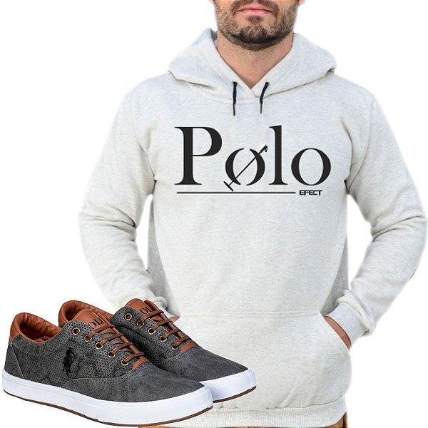 Kit 1 Tênis Polo Way Grafite com 1 Moletom Polo Efect Cinza