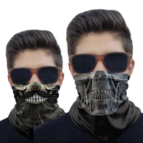 Kit 2 Máscaras Caveira Barba e Metal