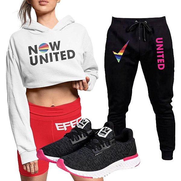 Conjunto Cropped Branco Calça Now United e Tênis Run