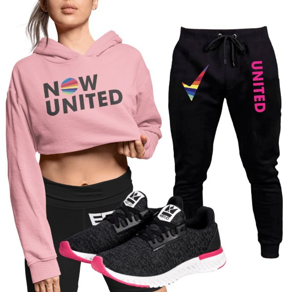 Conjunto Cropped Rosa Calça Now United e Tênis Run