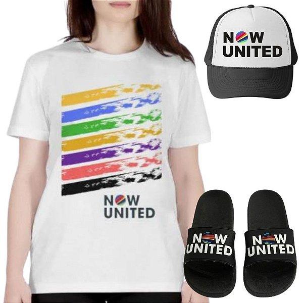 Kit Camisa Branca e Boné Now United com Chinelo