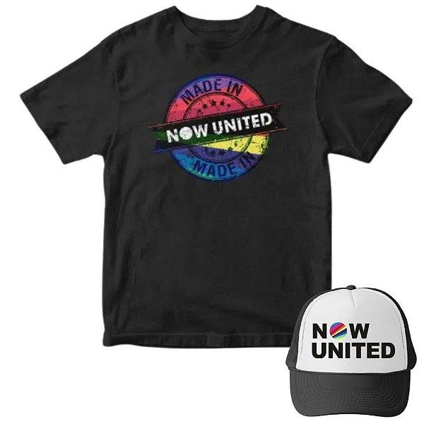 Camisa Preta e Boné Now United Infantil