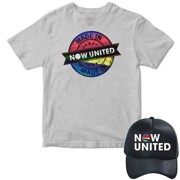 Camisa Cinza e Boné Now United