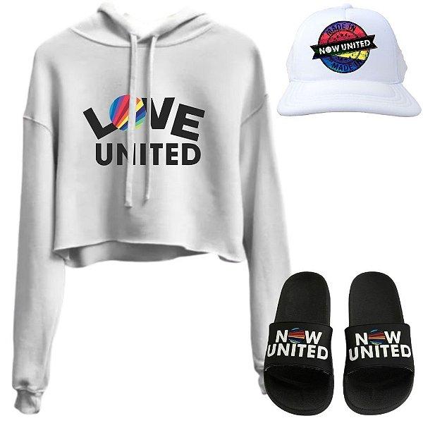 Cropped Branco Love United com Boné e Chinelo Now United
