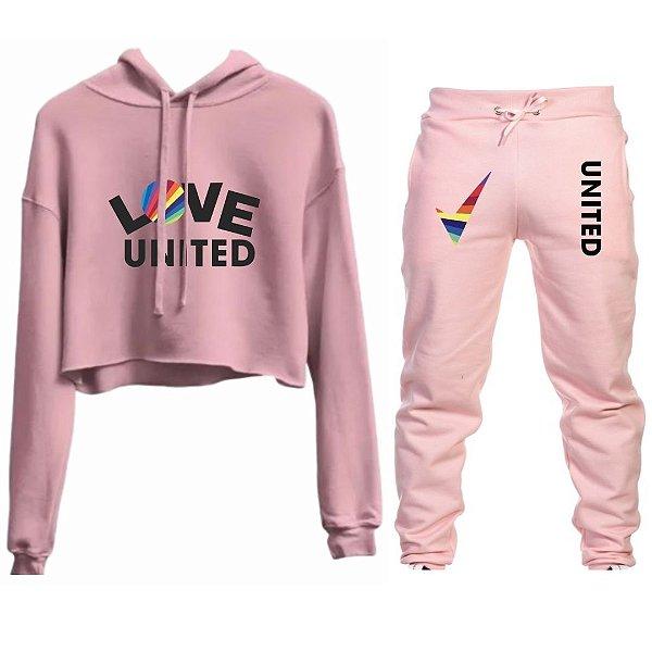 Conjunto Cropped e Calça Love United Rosa