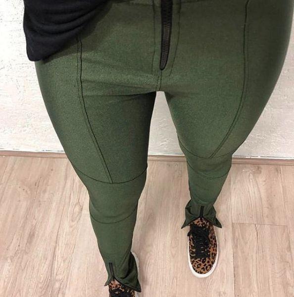 Calça Skinny Cirre Recortes Verde