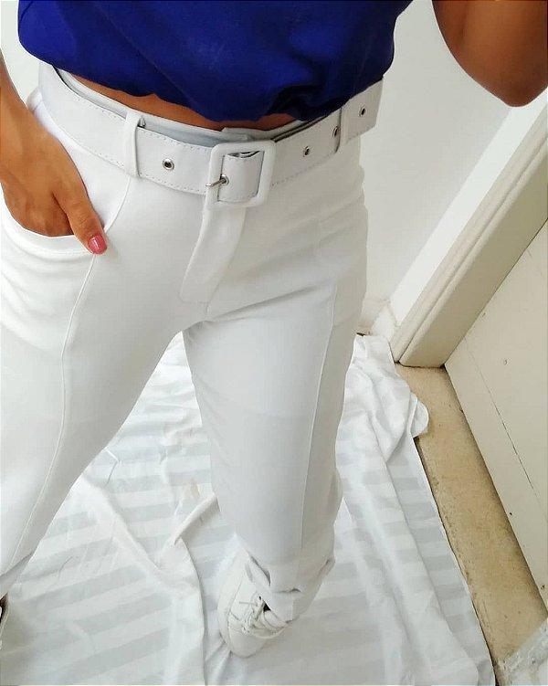 Calça Jogger Alfaiataria Cinto Branca