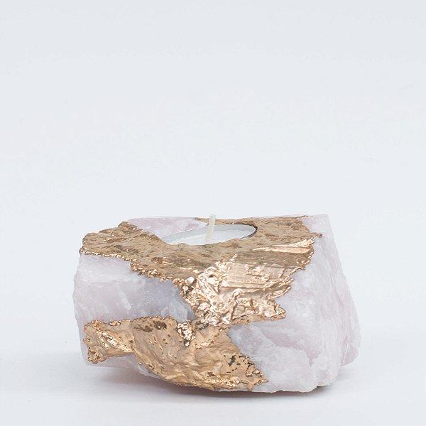 Porta Velas - Quartzo Banho Ouro/Prata