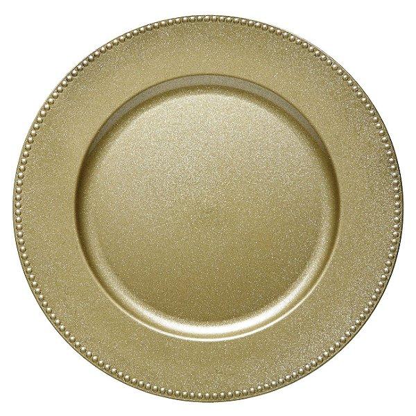 Sousplat dourado bolinha