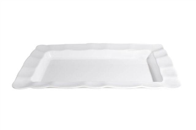Saladeira em melamina retangular com borda ondulada